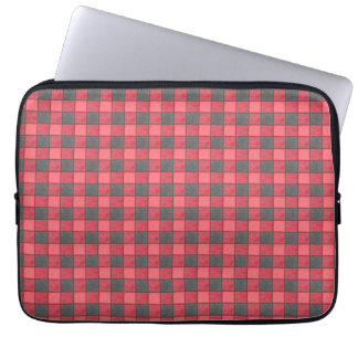 Red and Black Plaid Check Laptop Sleeve