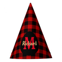 Red and Black Plaid Monogram and Name Party Hat
