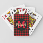 """Red and Black Plaid Monogram and Name Playing Cards<br><div class=""""desc"""">Lumberjack red and black plaid pattern. Personalize by using the templates to add your name and your initials or delete as required.</div>"""