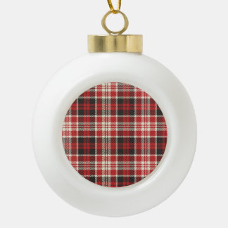 Red and Black Plaid Pattern Ceramic Ball Christmas Ornament