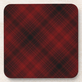 Red and Black Plaid Pattern Coaster