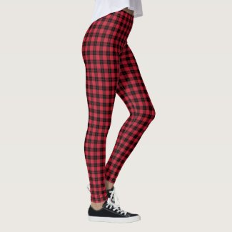 Red and Black Plaid Pattern Leggings