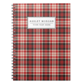 Red and Black Plaid Pattern Notebook