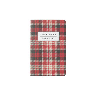 Red and Black Plaid Pattern Pocket Moleskine Notebook