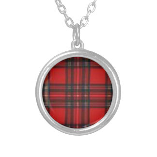 Red and Black Plaid Silver Plated Necklace