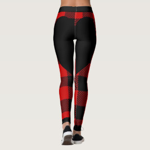 4c5744c4d4b Red and Black Plaid with Black Heart Leggings