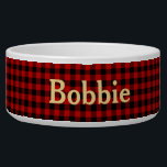 """Red and Black Plaid with Name Bowl<br><div class=""""desc"""">Add your pets name to this lumberjack black and red plaid patterned bowl.</div>"""