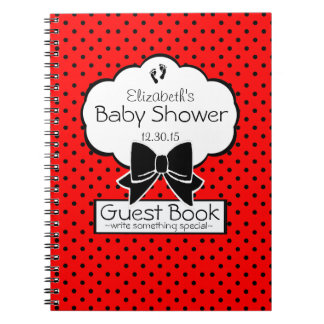 Red and Black Polka Dot Baby Shower Guest Book- Notebook