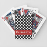 "Red and Black Polka Dot Bicycle&#174; Playing Cards<br><div class=""desc"">This custom black and white polka dot Bicycle&#174; playing cards set with a multi dot pattern can be personalized with your name on the PRINTED red contrast stitch ribbon look design. Artwork and design &#169; Chrissy H. Studios,  LLC. All Rights Reserved.</div>"