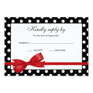 Red and Black Polka Dot Bow RSVP 3.5x5 Paper Invitation Card
