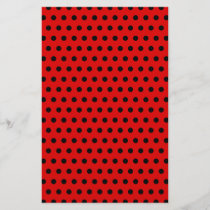 Red and Black Polka Dot Pattern. Spotty.
