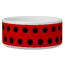 Red and Black Polka Dot Pattern. Spotty. Bowl