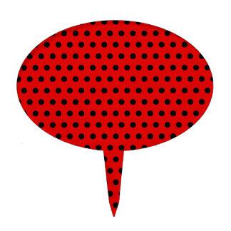 Red and Black Polka Dot Pattern. Spotty. Cake Topper