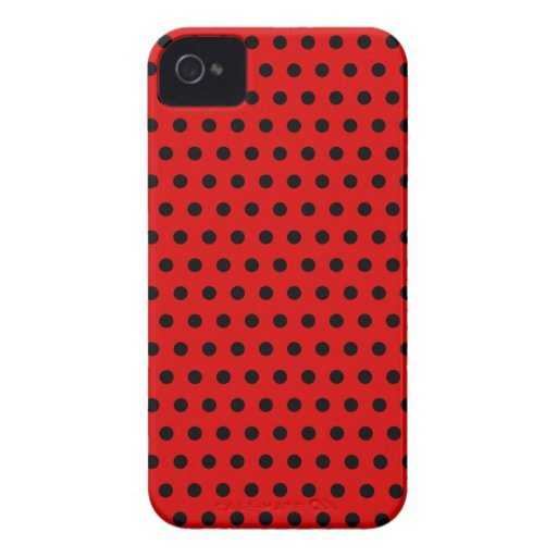 Red and Black Polka Dot Pattern. Spotty. iPhone 4 Cover