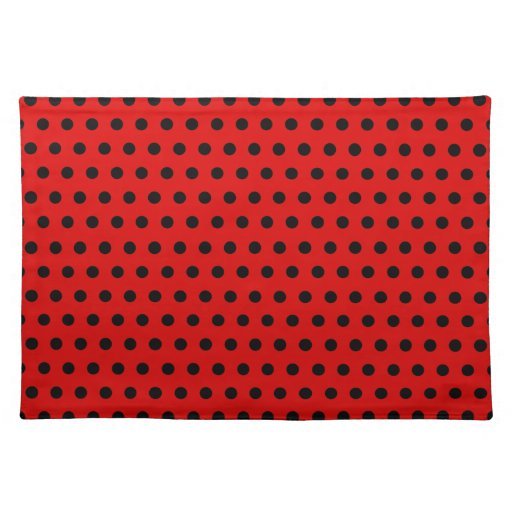 Red and Black Polka Dot Pattern. Spotty. Cloth Placemat