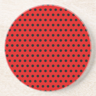 Red and Black Polka Dot Pattern. Spotty. Coasters