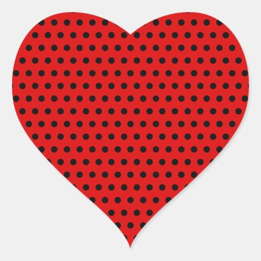 Red and Black Polka Dot Pattern. Spotty. Heart Sticker