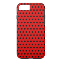Red and Black Polka Dot Pattern. Spotty. iPhone 8/7 Case