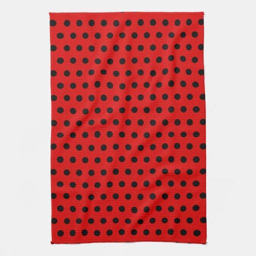 Red and Black Polka Dot Pattern. Spotty. Kitchen Towel