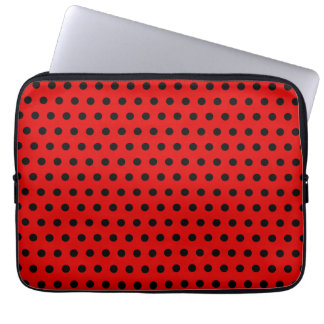 Red and Black Polka Dot Pattern. Spotty. Laptop Sleeve