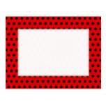 Red and Black Polka Dot Pattern. Spotty. Post Card