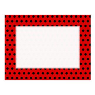 Red and Black Polka Dot Pattern. Spotty. Postcard