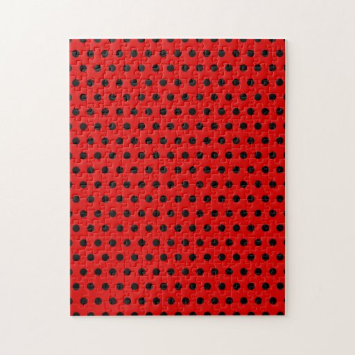 Red and Black Polka Dot Pattern. Spotty. Puzzles