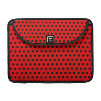 Red and Black Polka Dot Pattern. Spotty. Sleeve For MacBook Pro