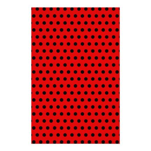 Red and Black Polka Dot Pattern. Spotty. Stationery