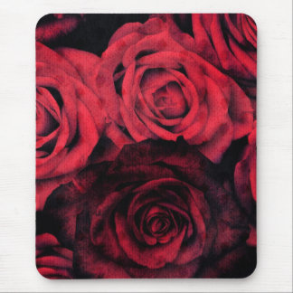 Red and black polka dot roses mouse pad