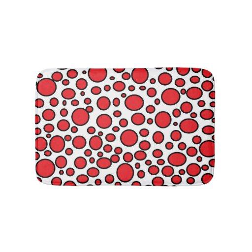 Red And Black Polka Dots Bath Mat Zazzle