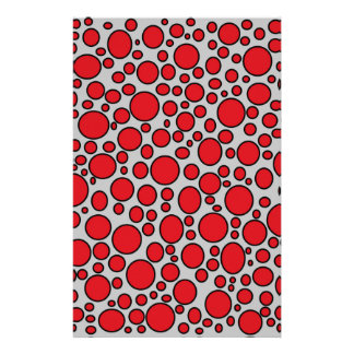 Red and Black Polka Dots Grey Stationery