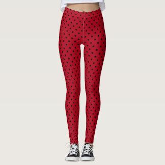 Red and Black Polka Dots Leggings