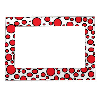 Red and Black Polka Dots Magnetic Frame