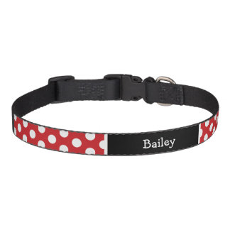 Red and Black Polka Dots Monogram Pet Collar