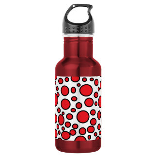 Red and Black Polka Dots Water Bottle