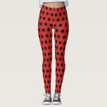 "Red and black polkadot pattern leggings<br><div class=""desc"">Red and black polkadot pattern leggings. Fun hipster fashion and work out clothes for cheerleading, fitness gym, yoga, gymnastics, dancing, ballet, ice skating and other athletic sports activities. In black and other dark colors. Modern polkadotted pattern athleisure leggings. Customizable background color. Trendy polka dot workout pants for fitness, gym, training,...</div>"