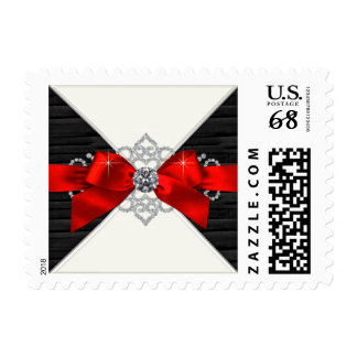 Red and Black Postage Stamp