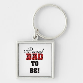 Red and Black Proud Dad to Be Gifts Keychain