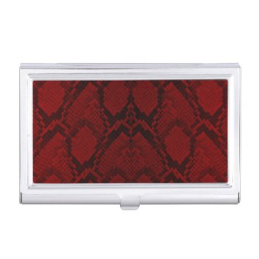 Professional Business Red and Black Python Snake Skin Reptile Scales Business Card Holder