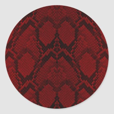Halloween Themed Red and Black Python Snake Skin Reptile Scales Classic Round Sticker