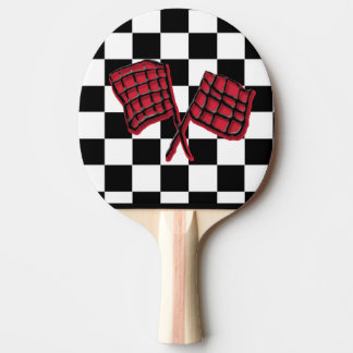 Red and black Race flag Ping-Pong Paddle