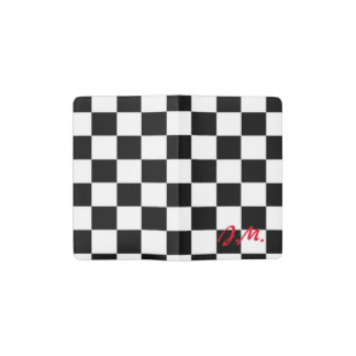 Red and black race flag square pattern pocket moleskine notebook cover with notebook