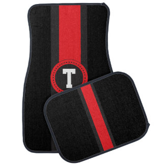 Red and Black Racing Stripe | Monogrammed Car Mat