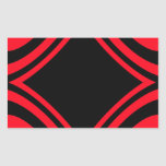 Red and Black Rectangular Sticker