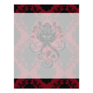 red and black romance diamond damask personalized flyer