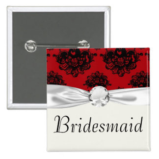 red and black romantic damask button