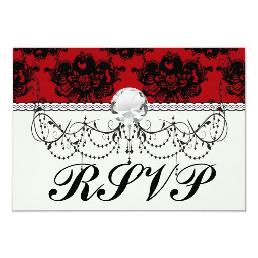 red and black romantic damask card