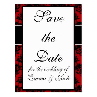 red and black romantic damask design postcard