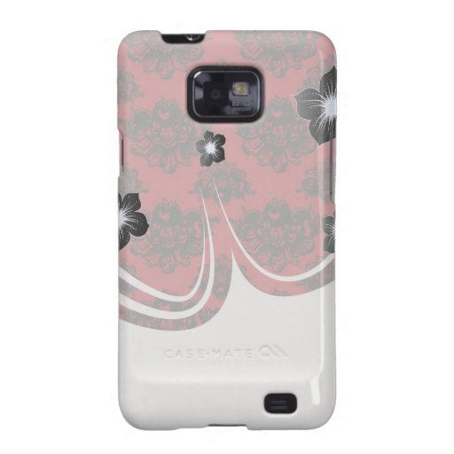 red and black romantic damask galaxy SII case